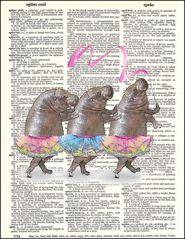 An image of a(n) Hippos in Tutus Dictionary Art Print.