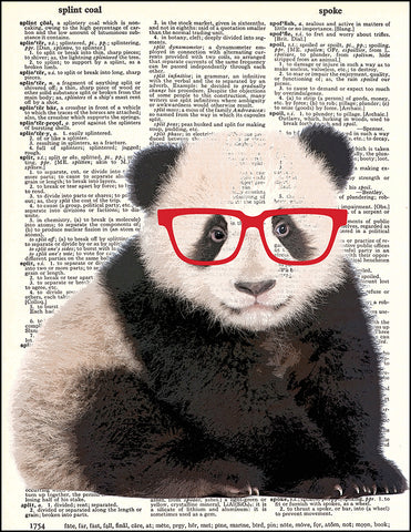 An image of a(n) Hipster Panda Dictionary Art Print.