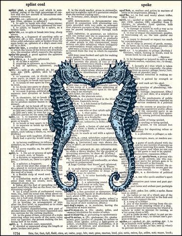An image of a(n) Kissing Seahorses Dictionary Art Print.
