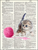 An image of a(n) Kitten with Yarn Dictionary Art Print.