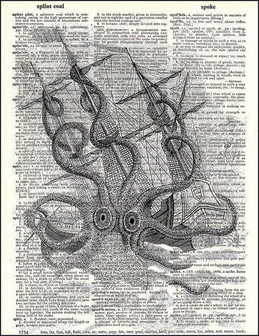 An image of a(n) Kraken Attacking a Ship Dictionary Art Print.