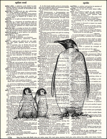 An image of a(n) Penguin Family Black and White Dictionary Art Print.