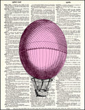 An image of a(n) Pink Hot Air Balloon Dictionary Art Print.