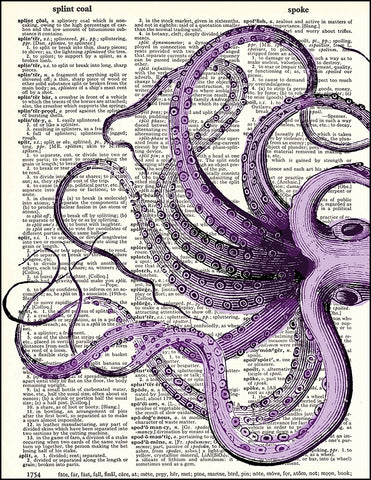 An image of a(n) Purple Tentacles Dictionary Art Print.