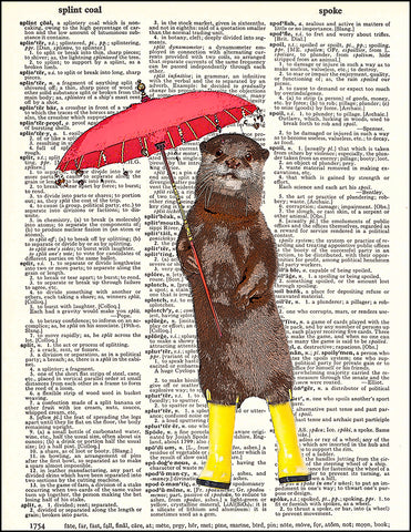 An image of a(n) Rainy Day Otter Dictionary Art Print.