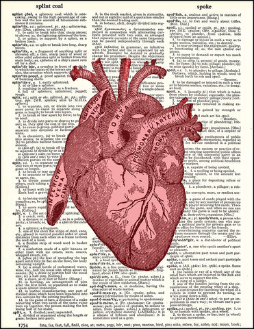 An image of a(n) Human Heart Red Dictionary Art Print.