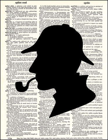 An image of a(n) Sherlock Holmes Silhouette Dictionary Art Print.