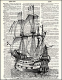 An image of a(n) Pirate Ship Dictionary Art Print.