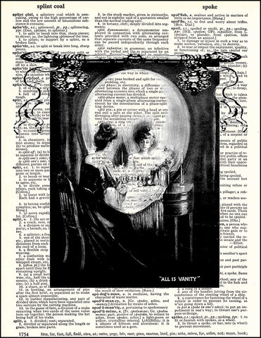 An image of a(n) All is Vanity Skull Dictionary Art Print.
