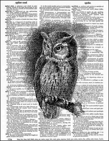 An image of a(n) Black Ink Owl Dictionary Art Print.
