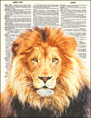 An image of a(n) Lion Dictionary Art Print.