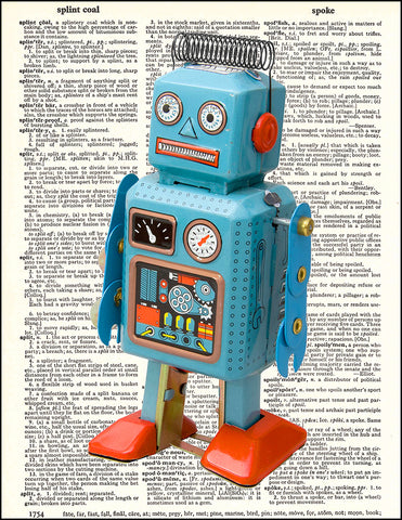 An image of a(n) Retro Robot Dictionary Art Print.