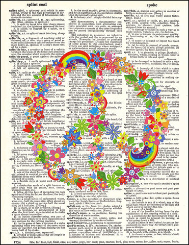 An image of a(n) Peace Flowers Dictionary Art Print.