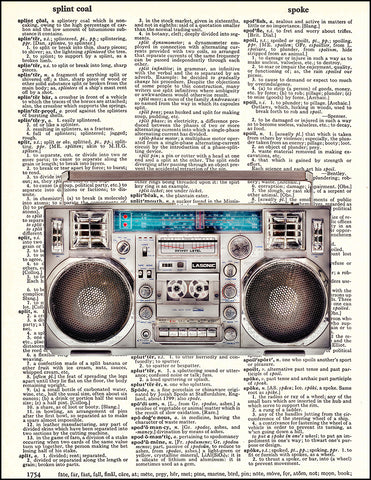 An image of a(n) Boom Box Dictionary Art Print.
