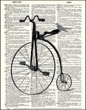 An image of a(n) Penny Farthing Bird Dictionary Art Print.