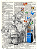 An image of a(n) Tardis Behind the Looking Glass Dictionary Art Print.