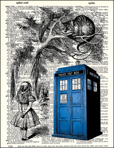 An image of a(n) Tardis and Cheshire Cat Dictionary Art Print.
