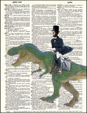 An image of a(n) Lincoln Riding Dinosaur Dictionary Art Print.