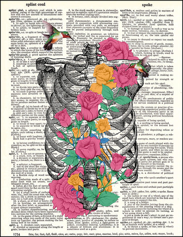 An image of a(n) Ribs and Flowers Dictionary Art Print.