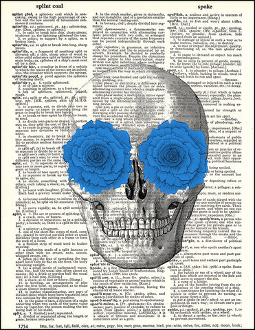 An image of a(n) Skull with Blue Flowers Dictionary Art Print.