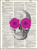 An image of a(n) Skull with Pink Flowers Dictionary Art Print.