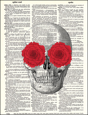 An image of a(n) Skull with Red Flowers Dictionary Art Print.