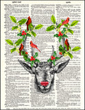 An image of a(n) Stag with Holly and Cardinals Dictionary Art Print.