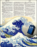 An image of a(n) Tardis with Great Wave Dictionary Art Print.