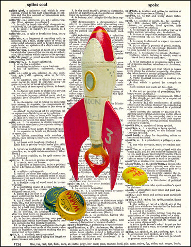 An image of a(n) Rocket Bottle Opener Dictionary Art Print.