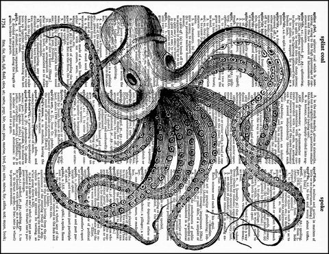 An image of a(n) Sideways Octopus Dictionary Art Print.