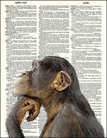 An image of a(n) Chimp Thinking Dictionary Art Print.