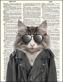 An image of a(n) Biker Kitty Dictionary Art Print.