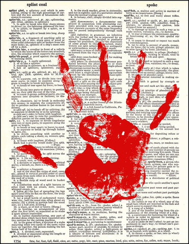 An image of a(n) Bloody Hand Dictionary Art Print.