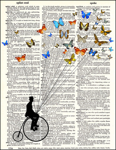 An image of a(n) Butterflies Penny Farthing Dictionary Art Print.