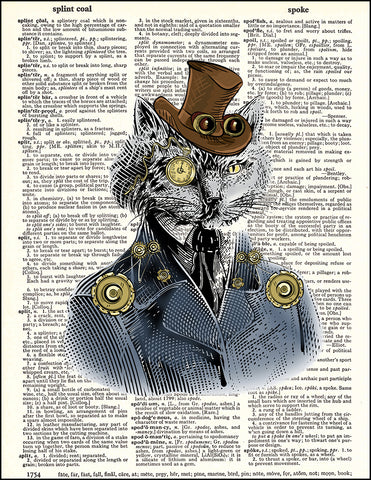 An image of a(n) Cat Portrait Steampunk Dictionary Art Print.