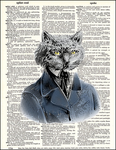 An image of a(n) Cat Portrait Dictionary Art Print.
