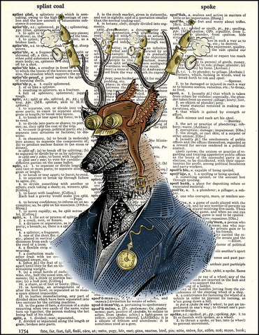 An image of a(n) Deer Portrait Steampunk Dictionary Art Print.