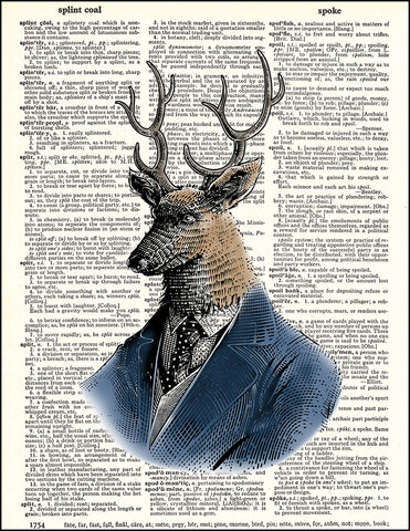 An image of a(n) Deer Portrait Dictionary Art Print.