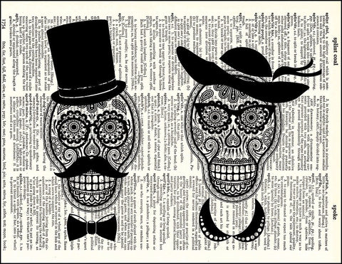 An image of a(n) Day of the Dead Couple Dictionary Art Print.
