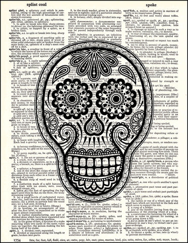 An image of a(n) Day of the Dead Daisy Dictionary Art Print.