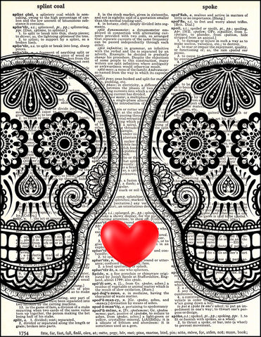 An image of a(n) Day of the Dead Love Dictionary Art Print.