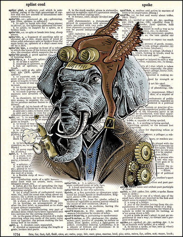 An image of a(n) Elephant Portrait Steampunk Dictionary Art Print.