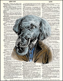 An image of a(n) Elephant Portrait Dictionary Art Print.