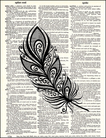 An image of a(n) Feather Zen Left Dictionary Art Print.