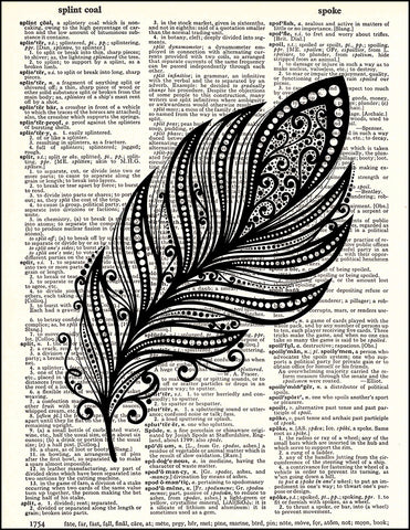 An image of a(n) Feather Zen Right Dictionary Art Print.