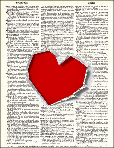 An image of a(n) Heart Rip Dictionary Art Print.