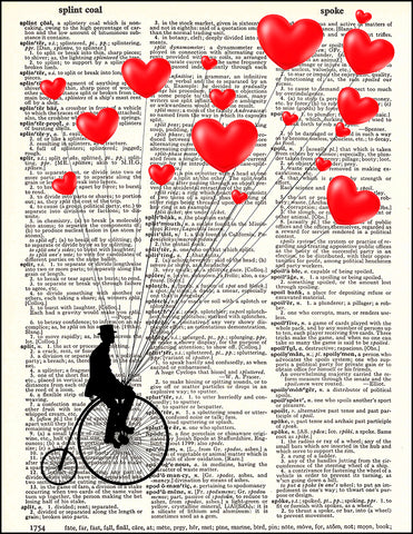 An image of a(n) Hearts and Penny Farthing Dictionary Art Print.