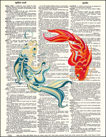 An image of a(n) Koi Fish Dictionary Art Print.