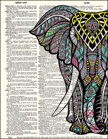 An image of a(n) Zen Elephant Half Dictionary Art Print.