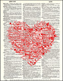 An image of a(n) Typography Love Heart Dictionary Art Print.